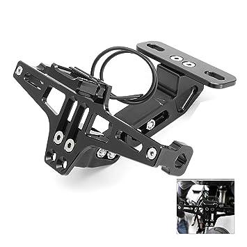 Qiilu Support R/églable Licence Cadre de Plaque dimmatriculation en Alliage daluminium pour moto Noir