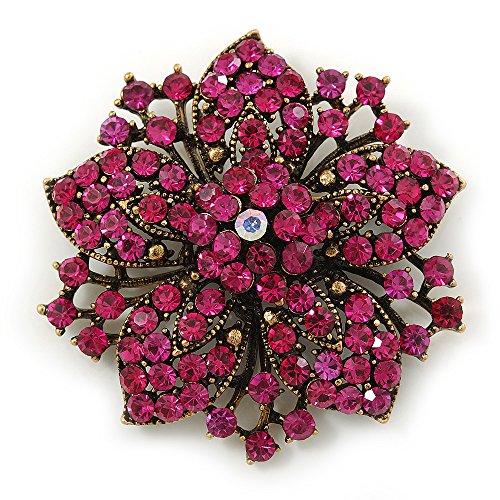Avalaya Victorian Corsage Flower Brooch in Antique Gold Tone & Bright Magenta Crystals - 55mm Diameter