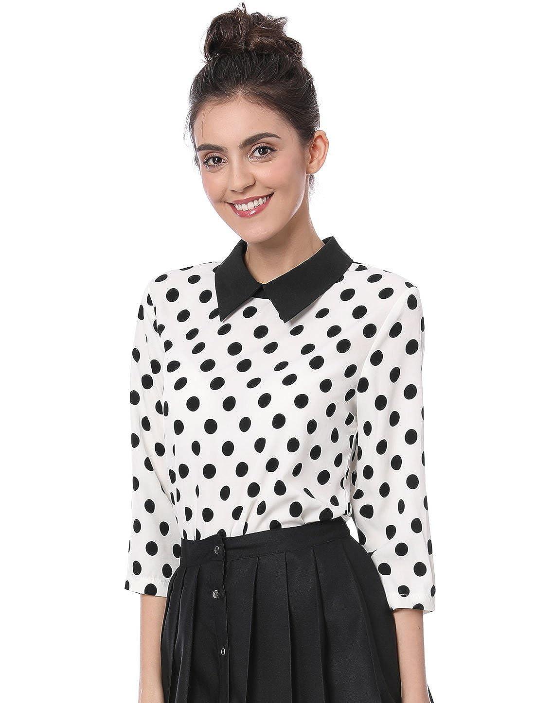 Allegra K Women 3/4 Sleeves Contrast Collar Polka Dots Blouse g18031300ux0001