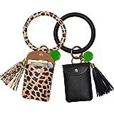 Keychain Bracelet, Leather Wristlet Keychain Bracelet for Women (Black Leopard)