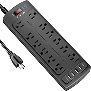 Power Strip, POWLIGHT Surge Protector with 12 AC Outlets and 4 USB Charging Ports,1875W/15A, 2100 Joules, 8 Feet Long Extension Cord for Smartphone Tablets Home,Office, Hotel- Black