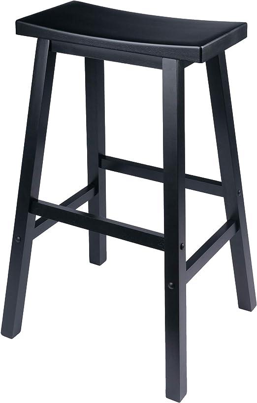 Winsome Wood 29 Inch Saddle Seat Bar Stool Black Amazon Ca Home Kitchen