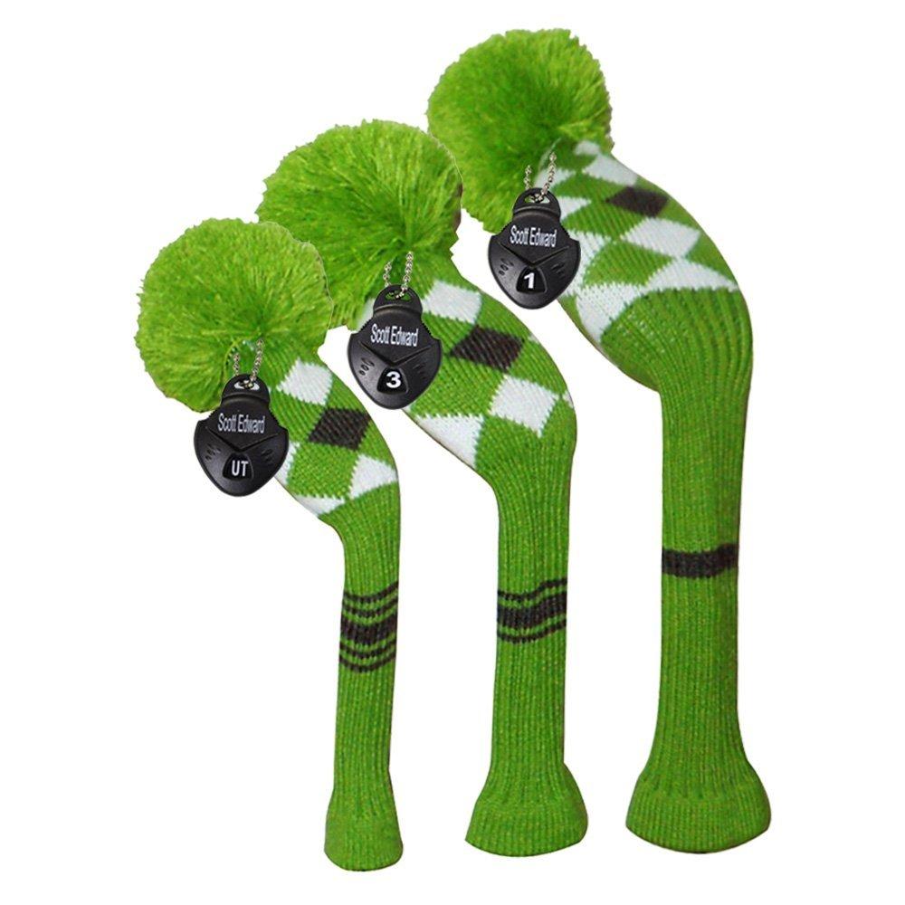 Scott Edward Vintage Long Neck Green/white/black Argyles Grey Stripes Style Soft Pom Pom Golf Headcover, Set of 3 for Driver(460cc) Fairway Wood, Hybrid, Rotating Number Tags, Washable