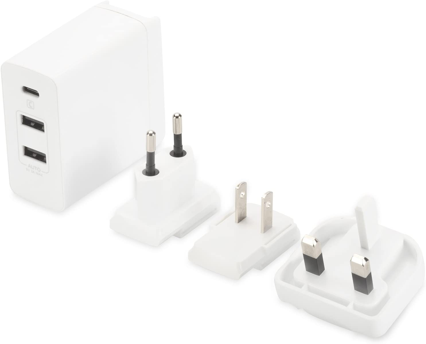 20V//3A 3-Port Wei/ß 1x Typ-C, 2x USB-A ednet 31812 Universal USB Typ-C Reise Ladeadapter//Ladeger/ät 3 Stecker EU//US//UK ,max