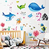 Removable Cartoon Decorative 3D Under the Sea Wall Stickers Ocean Animals Fish Dolphins, Whales, Penguins, Turtle and Coral Seaweed Wall Decal DIY Decor for Kids Babys Girls Bedroom Nursery Rooms