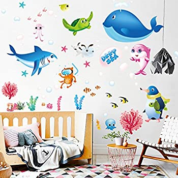 ba3ca62c03 Removable Cartoon Decorative 3D Under The Sea Wall Stickers Ocean Animals Fish  Dolphins, Whales,