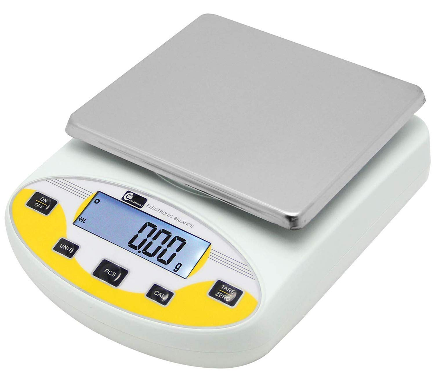 CGOLDENWALL Lab Digital Precision Analytical Balance Lab Scale Precision Scale Laboratory Weighing Electronic Balance Jewelry Scales Gold Balance Kitchen Scales Yellow Calibrated (5000g, 0.01g) by CGOLDENWALL