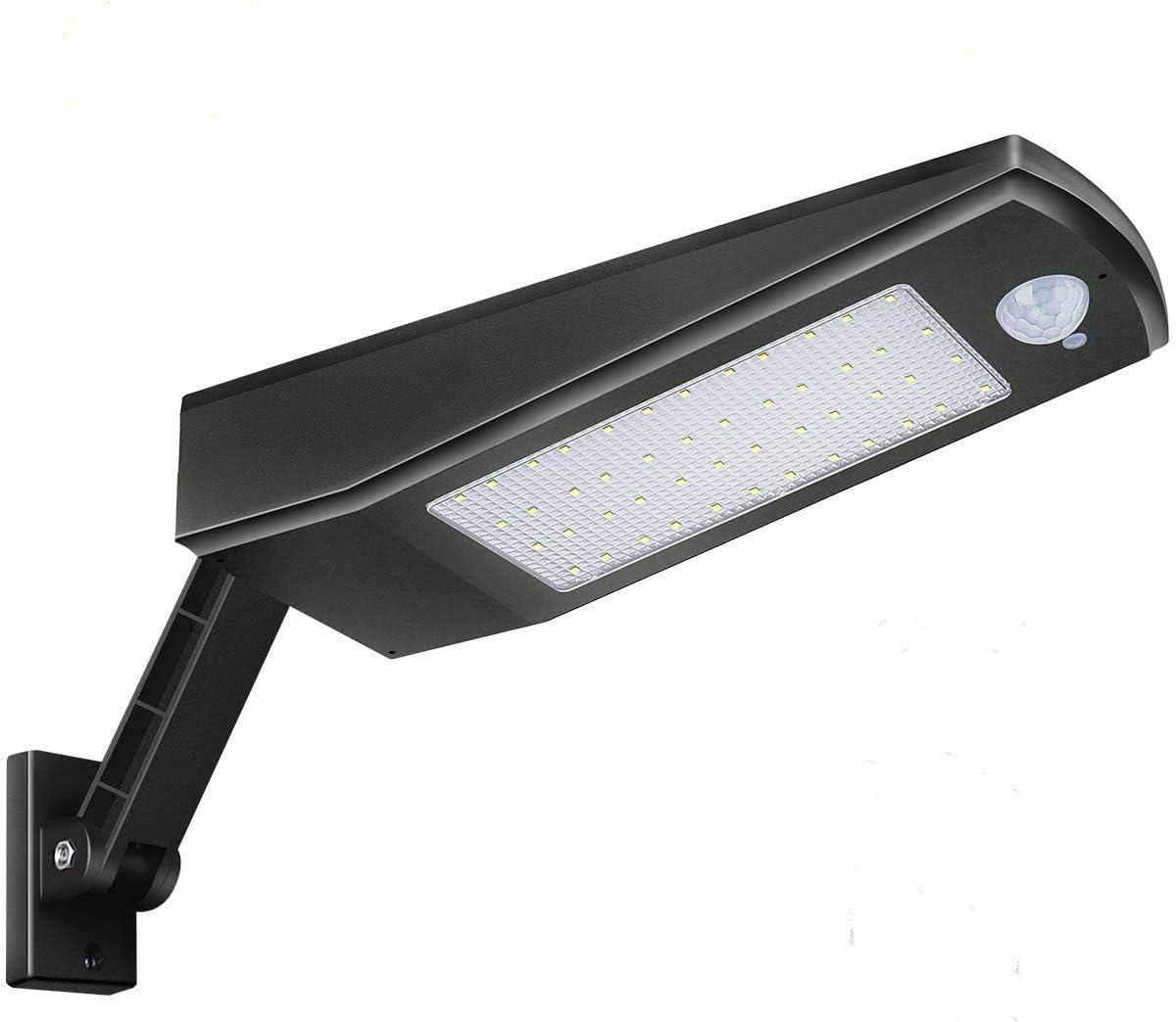 Solar Lights Outdoor, LED Street Lights, Security Motion Sensor, AIMENGTE Solar Powered Landscape Light Wall Lamp IP65 Waterproof, 900lm 48LEDs. Black Shell, White