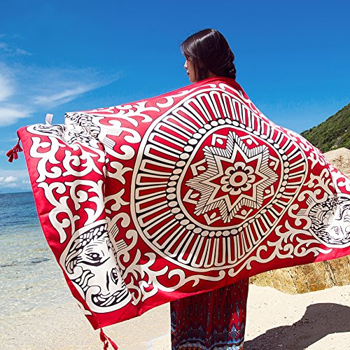 SUNBABY Women Boho Shawl Beach Towels Rectangle Polyester Scarf Travel Sarong Wrap Swimwear Cover Up Beach Mats (Red Lion)