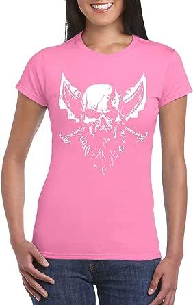 Pink Female Gildan Short Sleeve T-Shirt - Kratos - Blades of Chaos design