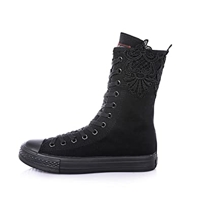 f0ac80231b8f Women s Tall Canvas Lace up Knee High Sneakers Canvas Boots(Black-flat-35