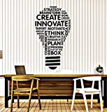 Vinyl Wall Decal Lightbulb Inspire Words Business Office Art Decor Stickers Mural Large Decor (ig5071) Black