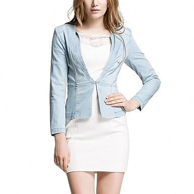 Women Fashion Elegant Slim Vintage Denim Blazer Coat Girls Chic