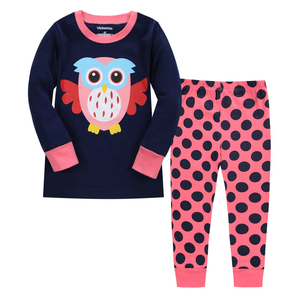 LitBud Toddler Girls Kid Chirstmas Pajamas Owl Sleepwears 2pcs Long Sleeves Tops + Pants Sets Size 1-2 Years 2T Xmas Gift