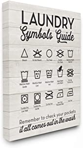 Stupell Industries Laundry Symbols Guide Typography Canvas Wall Art, 24 x 30, Design by Artist Lettered and Lined