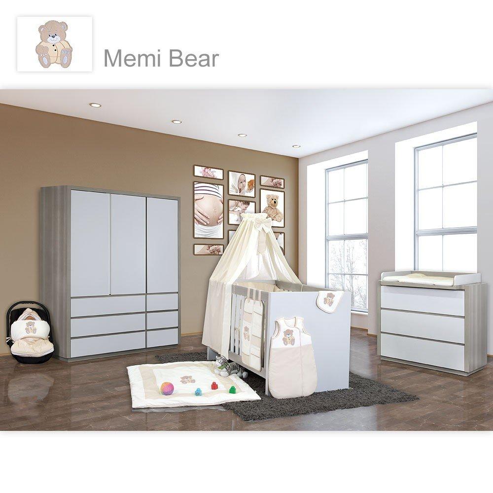 Babyzimmer Atlanta in Akaziengrau 10 tlg. mit 3 türigem Kl. + Memi Bear Beige