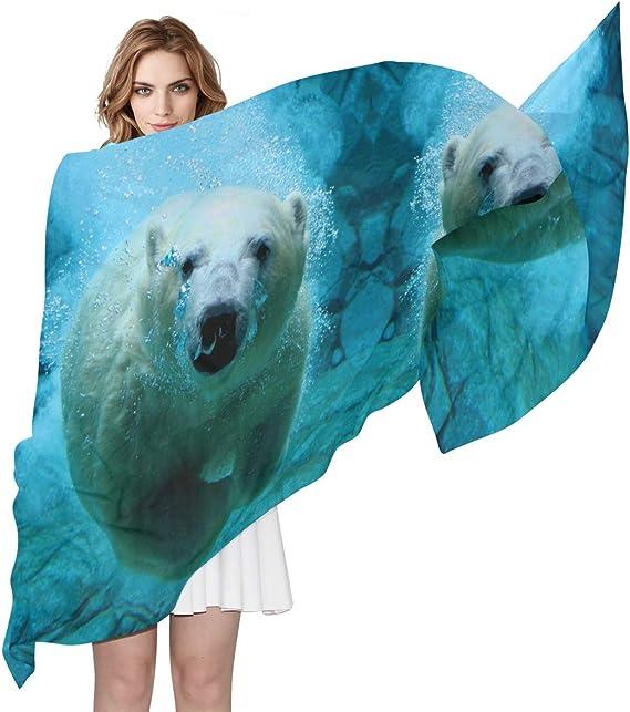Ladies Lovely Polar Bears Print Winter Creative Scarf Christmas Chiffon Shawl