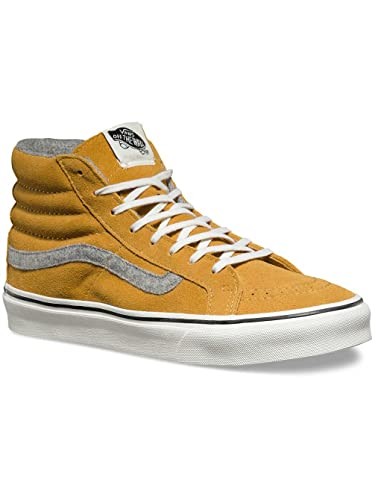 25361ddbb8 Image Unavailable. Image not available for. Color  Vans SK8-hi Slim (Vintage  Suede) (Amber Gold) ...