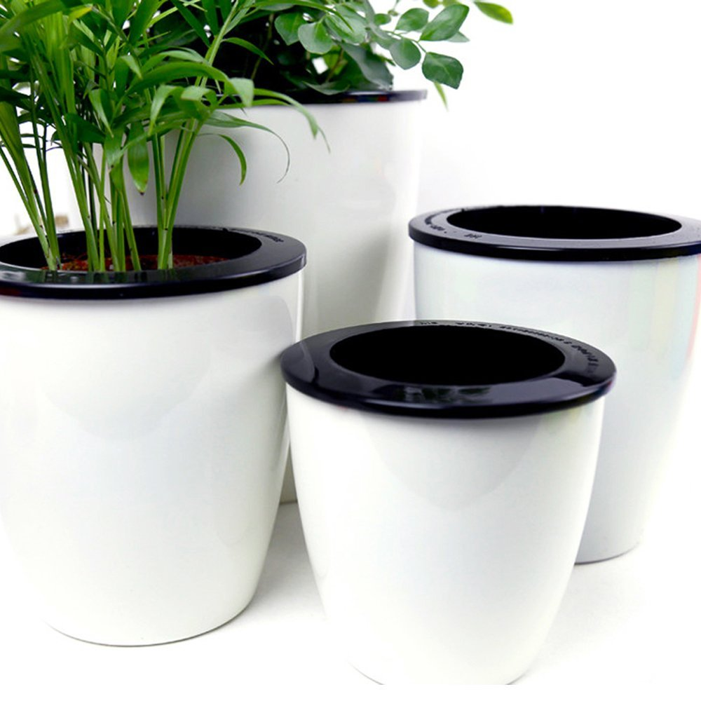 Mkono 3 Pack Self Watering Planter White Flower Pot, M by Mkono (Image #1)