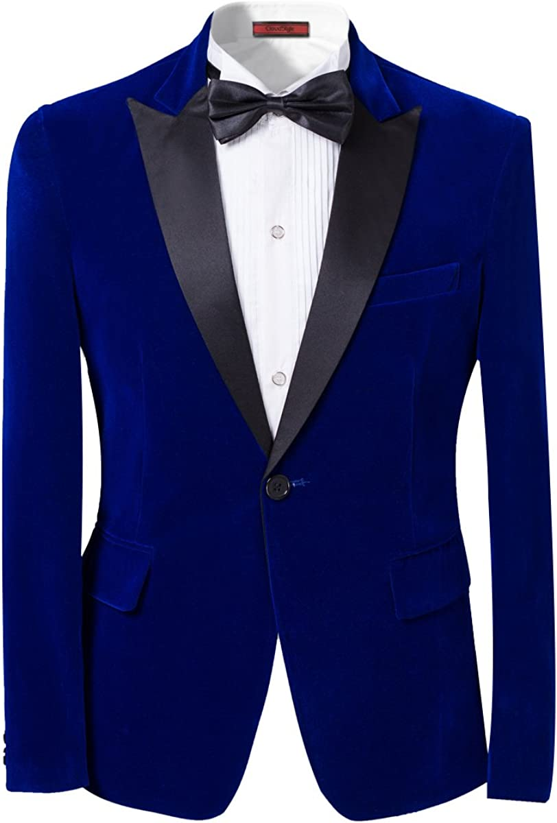 Men's Peaked Lapel 1 Button Dinner Jacket Wedding Blazer Prom Tuxedo