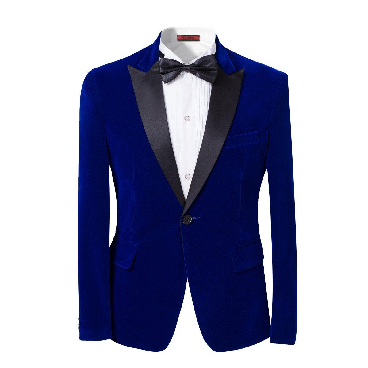 Mens 2-piece Suit Peaked Lapel One Button Tuxedo Slim Fit Dinner Jacket & Pants,Blue,Large by Cloudstyle