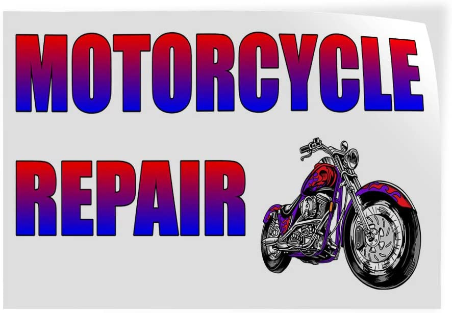 Set of 5 54inx36in Decal Sticker Multiple Sizes Motorcycle Repair White Rainbow Business Motorcycle Outdoor Store Sign White