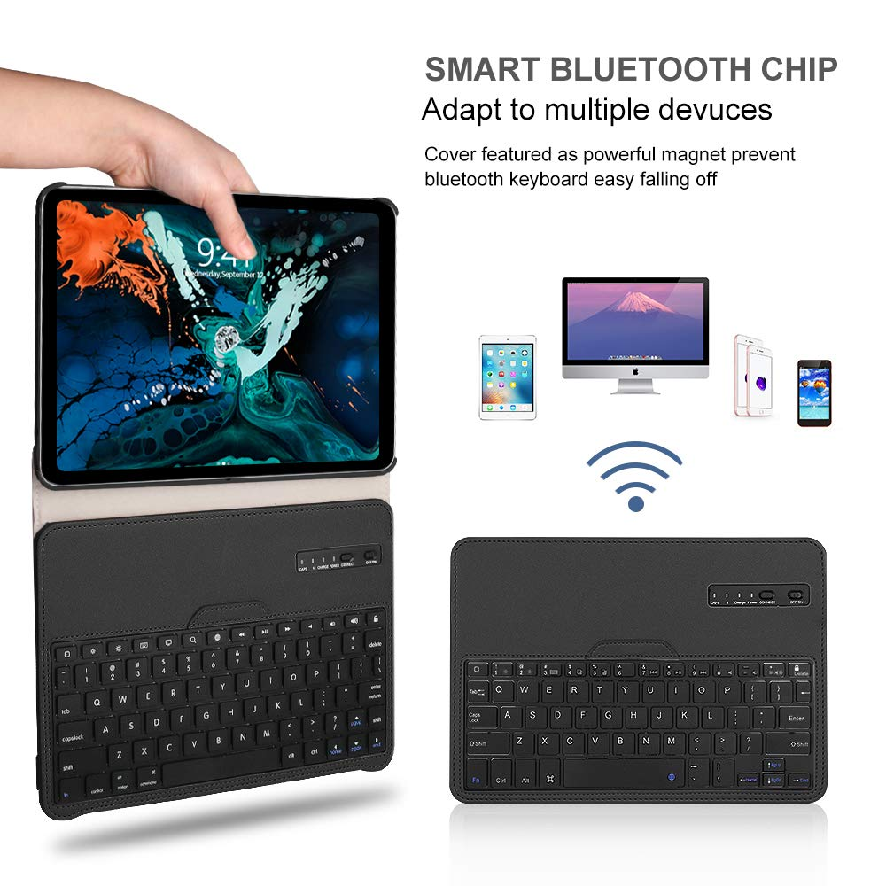 Keyboard Case iPad Pro 11 inch (A1980, A2013, A1934) [Support Apple Pencil Charging], 360 Rotating, Detachable Keyboard, PU Leather Stand, iPad Pro 11 Keyboard Case, (Black, 11 inch)