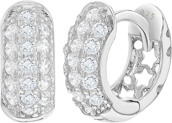 "925 Sterling Silver Clear CZ Small Hoop Wide Huggie Earrings for Girls 0.27/"""