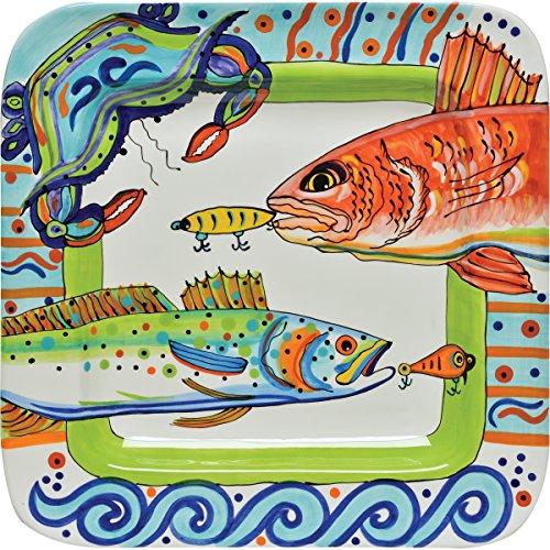 Thompson   Elm Dana Wittmann Ceramic Fish Crab Square Platter  Multicolor