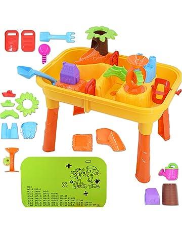 deAO Mesas de Juegos Exteriores 2 en 1 para Agua y Arena Mesa de Plástico Infantil