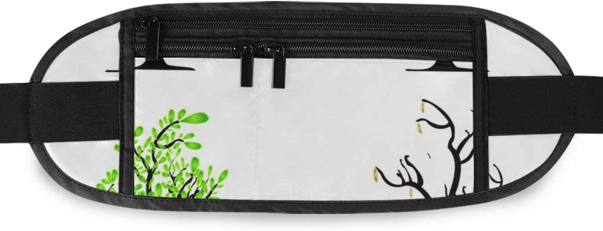 Travel Waist Pack,travel Pocket With Adjustable Belt Trees Four Seasons Spring Summer Autumn Running Lumbar Pack For Travel Outdoor Sports Walking
