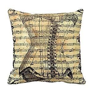 Home Decorative Cotton Standard Size 18inch Vintage Corset Sheet Music Throw Pillow