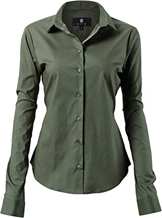 Harrms - Blusa básica para mujer, entallada, de manga larga, de algodón, de un solo color, lisa,