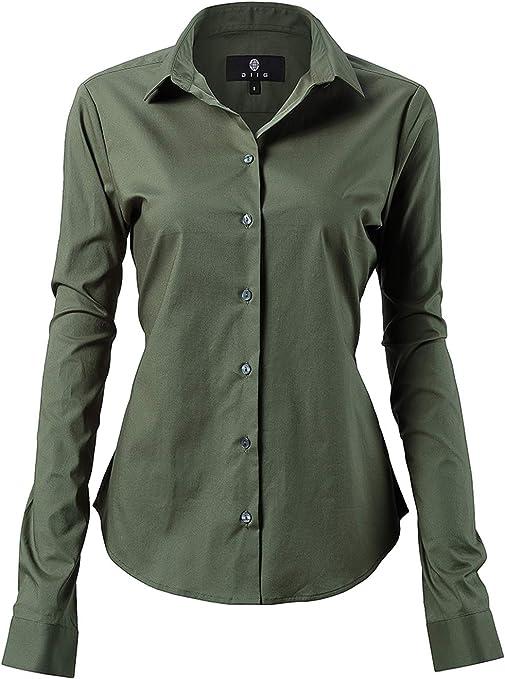 Harrms - Blusa básica para mujer, entallada, de manga larga, de algodón, de un solo color, lisa, para traje, trabajo, con bolsillo en el pecho, fácil de planchar, 11 colores Verde militar