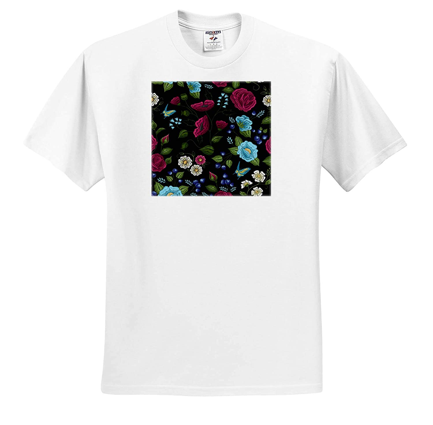 Vintage Flowers with Black Background and Butterflies 3dRose Sven Herkenrath Flower Adult T-Shirt XL ts/_310974