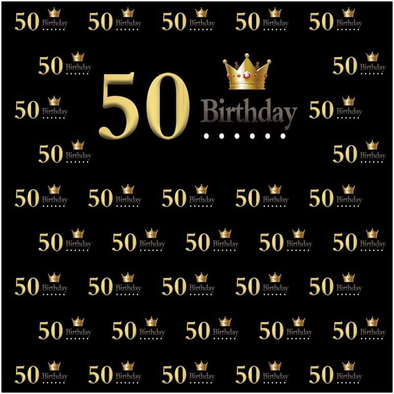 DORCEV 10x10ft 50 Birthday Backdrop Fifty Years Old Birthday Party 50th Anniversay Party Background Golden Crown Step and Repeat Gold and Black Adult 50 Party Banner Adult Photo Studio Props