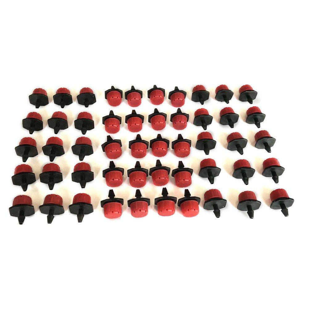 Rojo + Negro Healthy Clubs Micro Ajustable Riego Rociadores Plastica Sprinklers Emisor Drip Sistema 100 Piezas