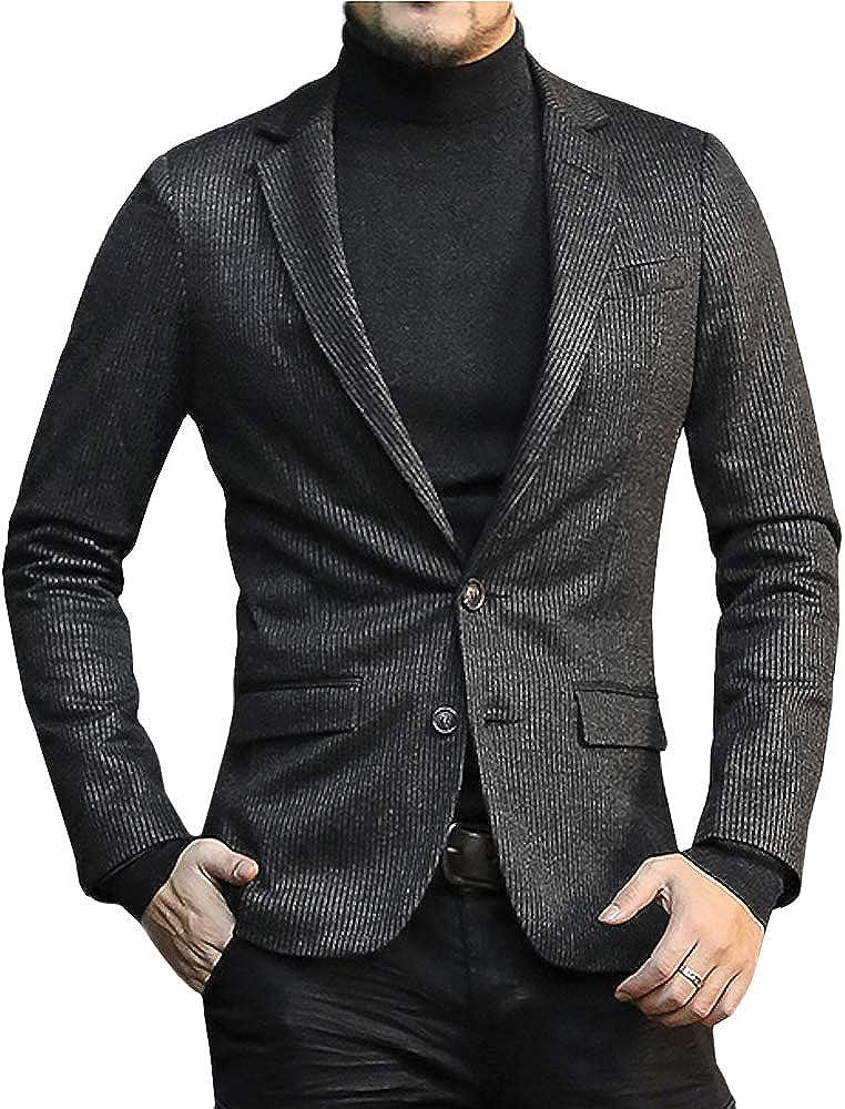 MIXLIMITED Mens Pinstripe Slim Fit Blazer Suit Casual Double Button Blazer Jacket
