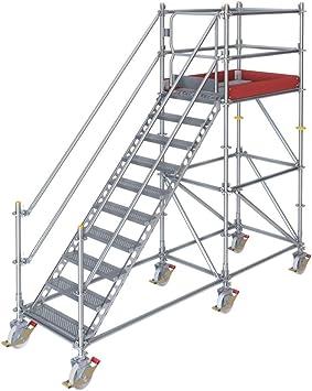 Escalera con plataforma móvil para 2 m de diferencia de altura con puerta de seguridad: Amazon.es: Bricolaje y herramientas