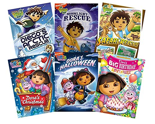 - Dora & Diego Ultimate Nick Jr. 6-Pack DVD Collection - Dora the Explorer: Dora's Christmas / Dora's Halloween / Dora's Big Birthday Adventure / Go Diego Go!: Deigo's Arctic Rescue / Moonlight Rescue /