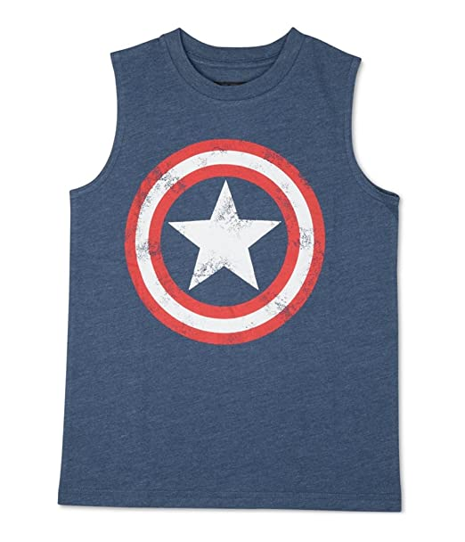 92b895b4975db Image Unavailable. Image not available for. Color  Marvel Comics Boys Captain  America Shield Muscle Tank Top ...