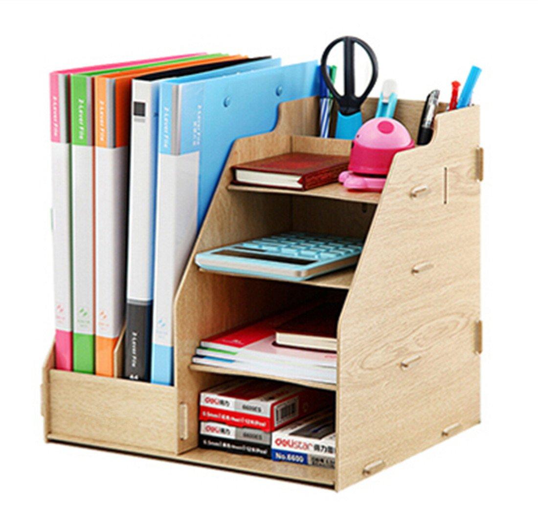 tag re rangement diy organisateur de bureau en bois 4 planche 2 compartiment creux porte. Black Bedroom Furniture Sets. Home Design Ideas