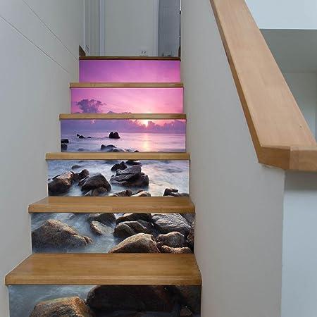 YYH 3D Escaleras Pegatinas HD Paisaje costero Sunset Combinación Bricolaje Mural para Casa Escalera Corredor Renovación Cocina Decoración Impermeable Pegatinas Pared,2 Set 12 pcs,100 * 18cm: Amazon.es: Hogar