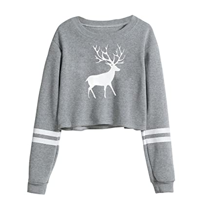 49933575a5b94e Amazon.com: Hemlock Sweater Tops Teen, Women Casual Elk Deer Print ...