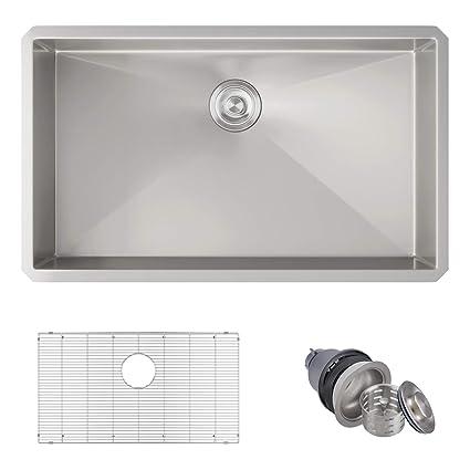 Mowa Hus3018 Pro Series Handmade 30 16 Gauge Stainless Steel Under Mount Single Bowl Kitchen Sink Upgraded W Perfect Drainage Undermount Kitchen