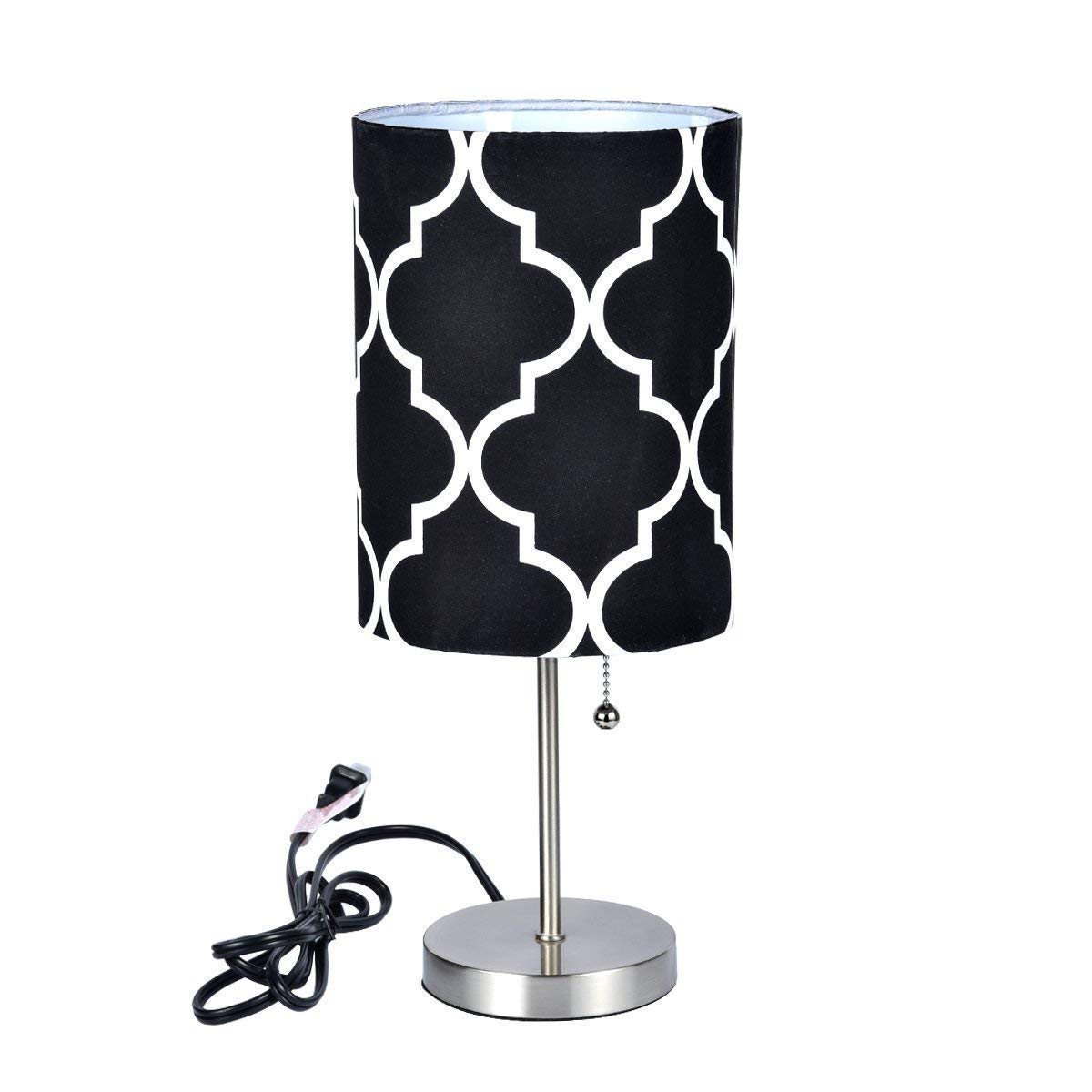 Bedside Table Lamp | Minimalist Table Lamp Bedside Desk Lamp with Round Flaxen Fabric Shade and Pull Chain Switch for Bedroom, Dresser, Living Room, Kids Room, College Dorm, Coffee Table, Bookcase