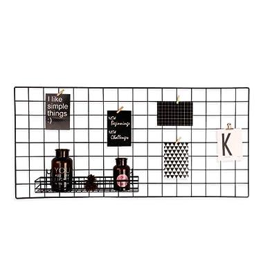 Pulatree Grid Photo Wall, Wire Wall Grid Panel for Photo Hanging Display Metal Grid Wall Decor Organizer Mesh Panels Display Wall Storage 34.7 x 17.7 inch - Black