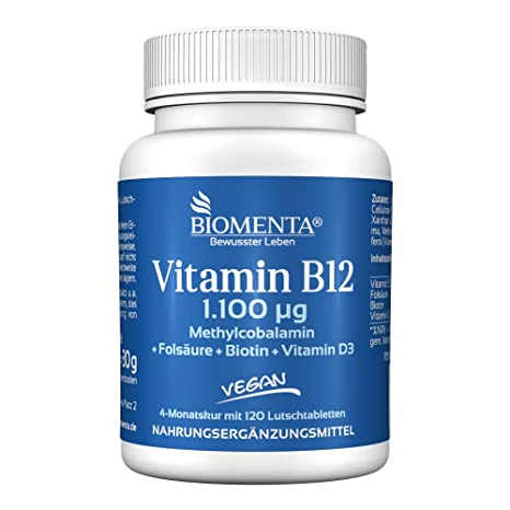 BIOMENTA VITAMINA B12 vegano - 1.100 mcg Metilcobalamina + VITAMINA D3 + BIOTINA + ACIDO FOLICO