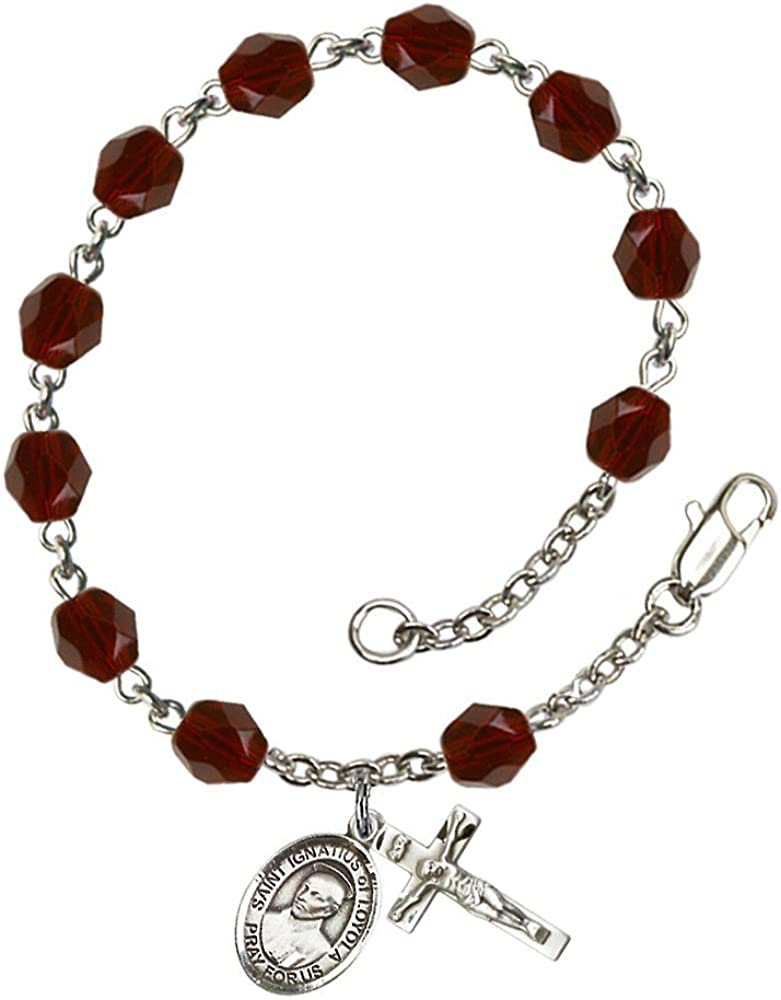 Ignatius of Loyola Silver Plate Rosary Bracelet 6mm January Red Fire Polished Beads Crucifix Size 5//8 x 1//4 medal charm St