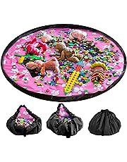 LandJoy Leksak förvaringsväska 150 cm (60 tum) barn lekmatta stor bärbar snygg organiserare dragsko väska för hem och utomhus
